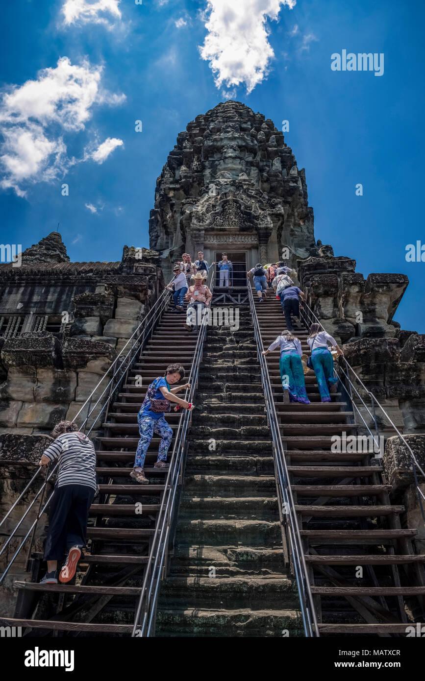Asien, Kambodscha, Angkor Wat, Turm, Tempel, Treppe - Stock Image