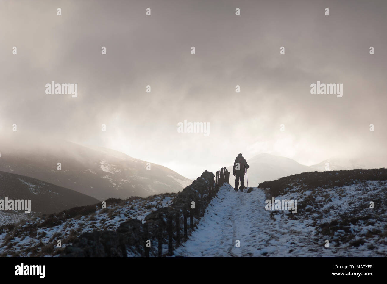A man walking in the snow with the help of a walking stick along a path in the winter under a dark sky - Stock Image