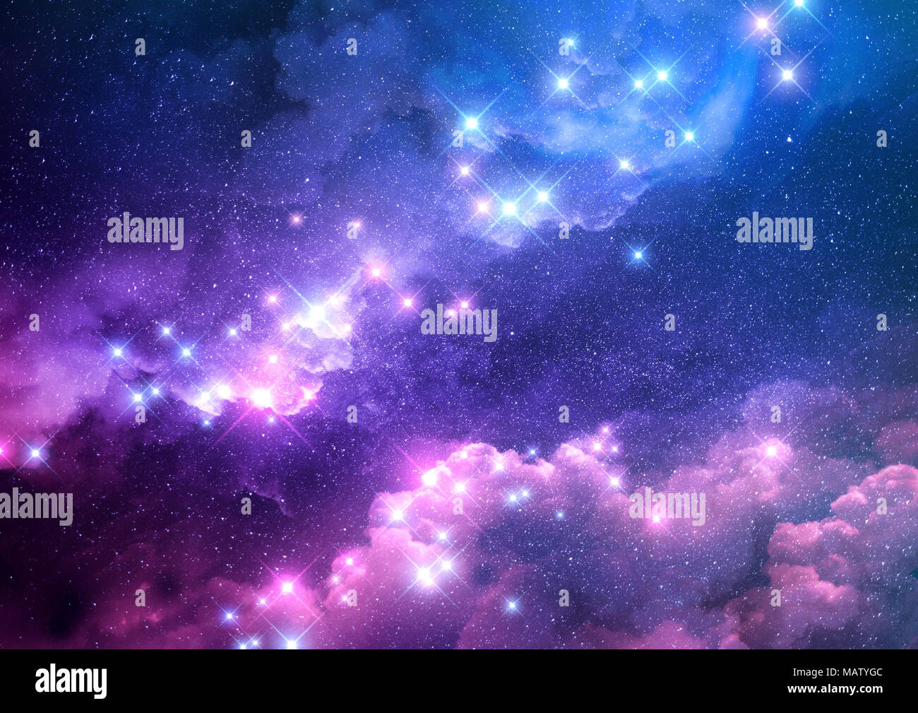 Abstract pink and blue galaxy background filled with bright stars. Raster illustration. - Stock Image