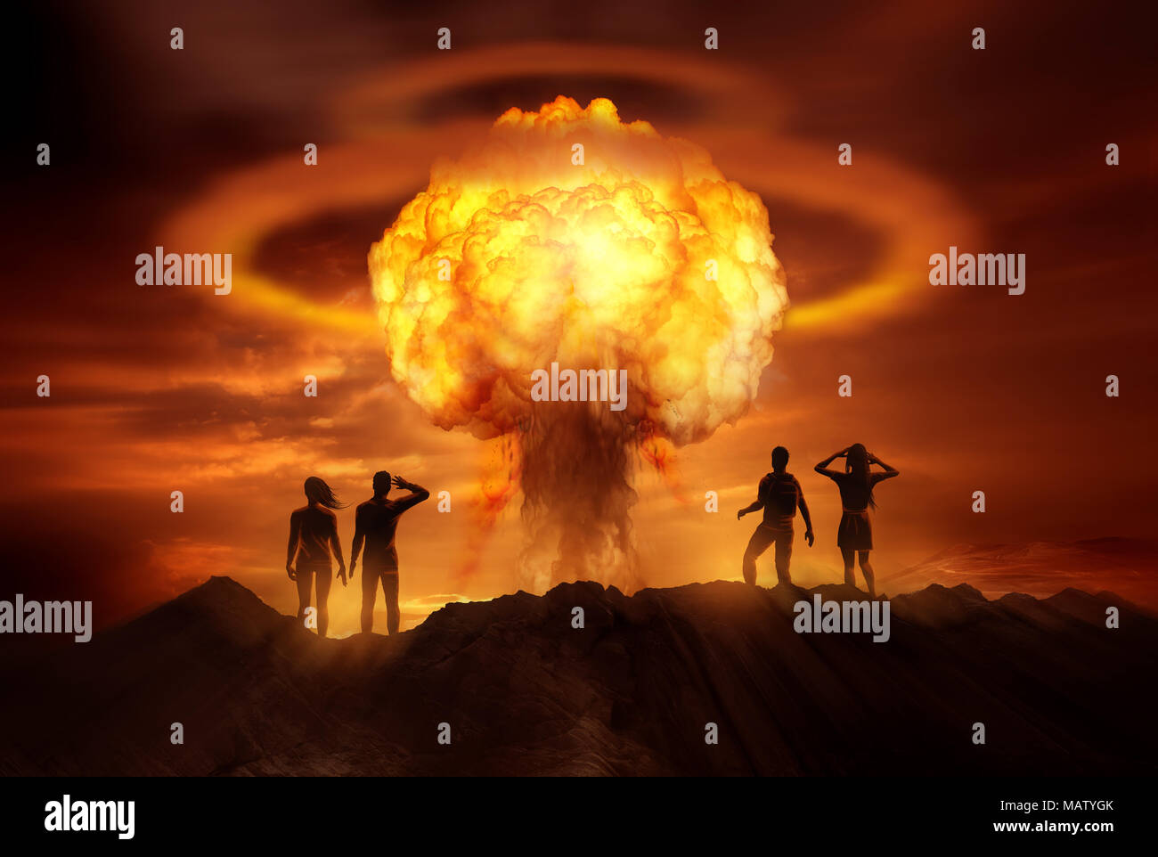 People watching the end of the world as a nuclear bomb explodes in front of them. Mixed media illustration. - Stock Image