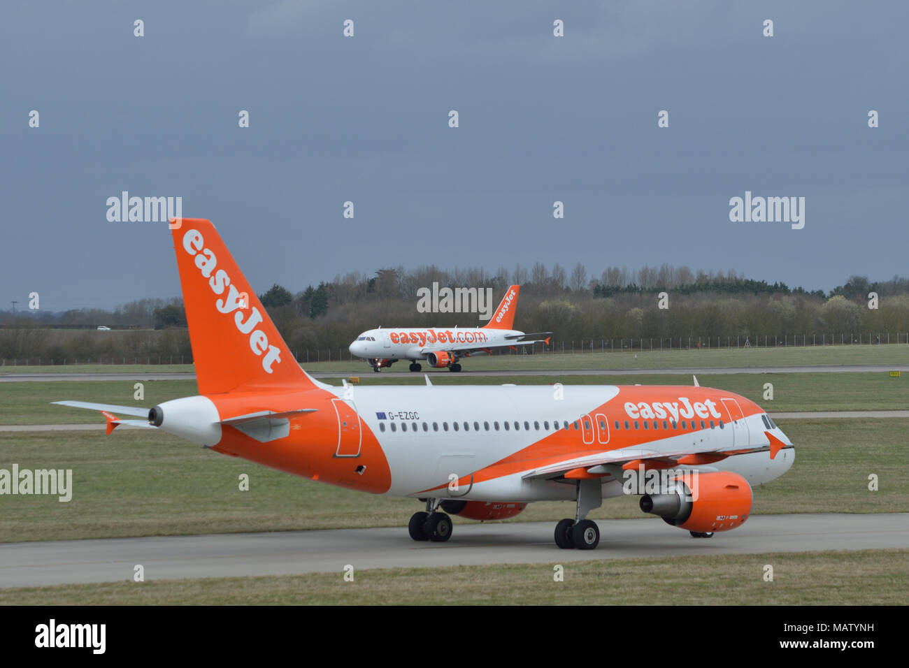 Easyjet aircraft taxiing at London Stansted Airport - Stock Image