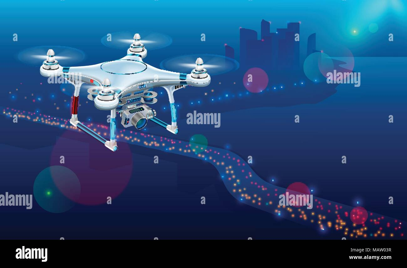 Drone with video camera In The Air Over City Roadway. Unmanned Aircraft System or UAV monitoring street traffic or photography urban landscape in the  - Stock Vector