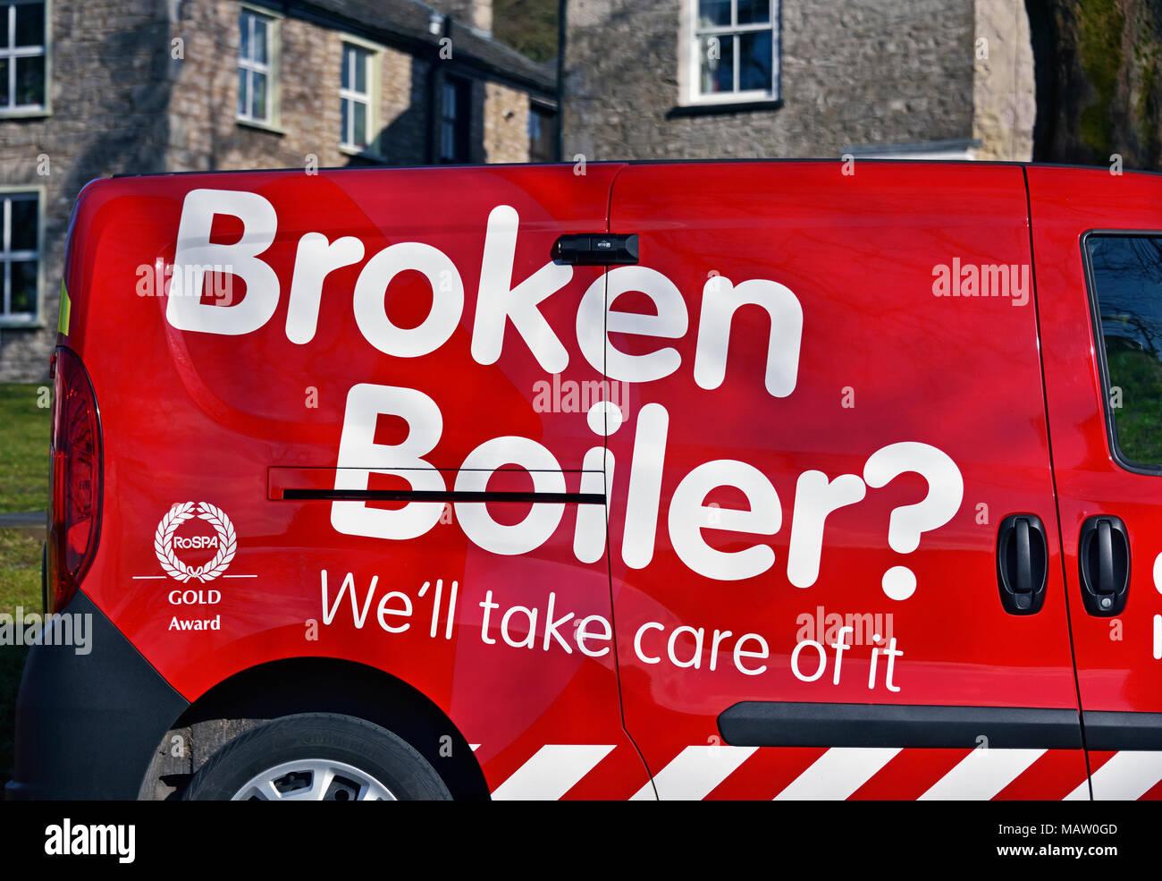 'Broken Boiler? We'll take care of it.' logo on side of van. Kendal, Cumbria, England, United Kingdom, Europe. - Stock Image