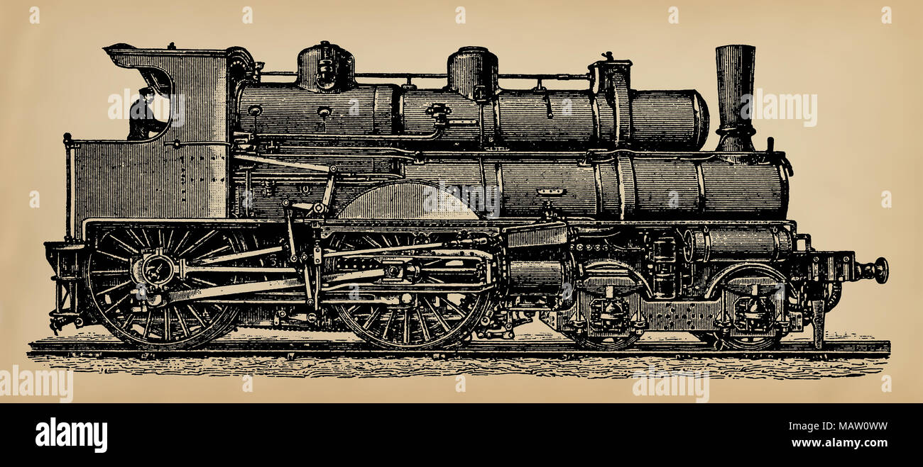 An old steam locomotive, model of 1897. Publication of the book 'A Century in the text and pictures', Berlin, Germany, 1899 - Stock Image