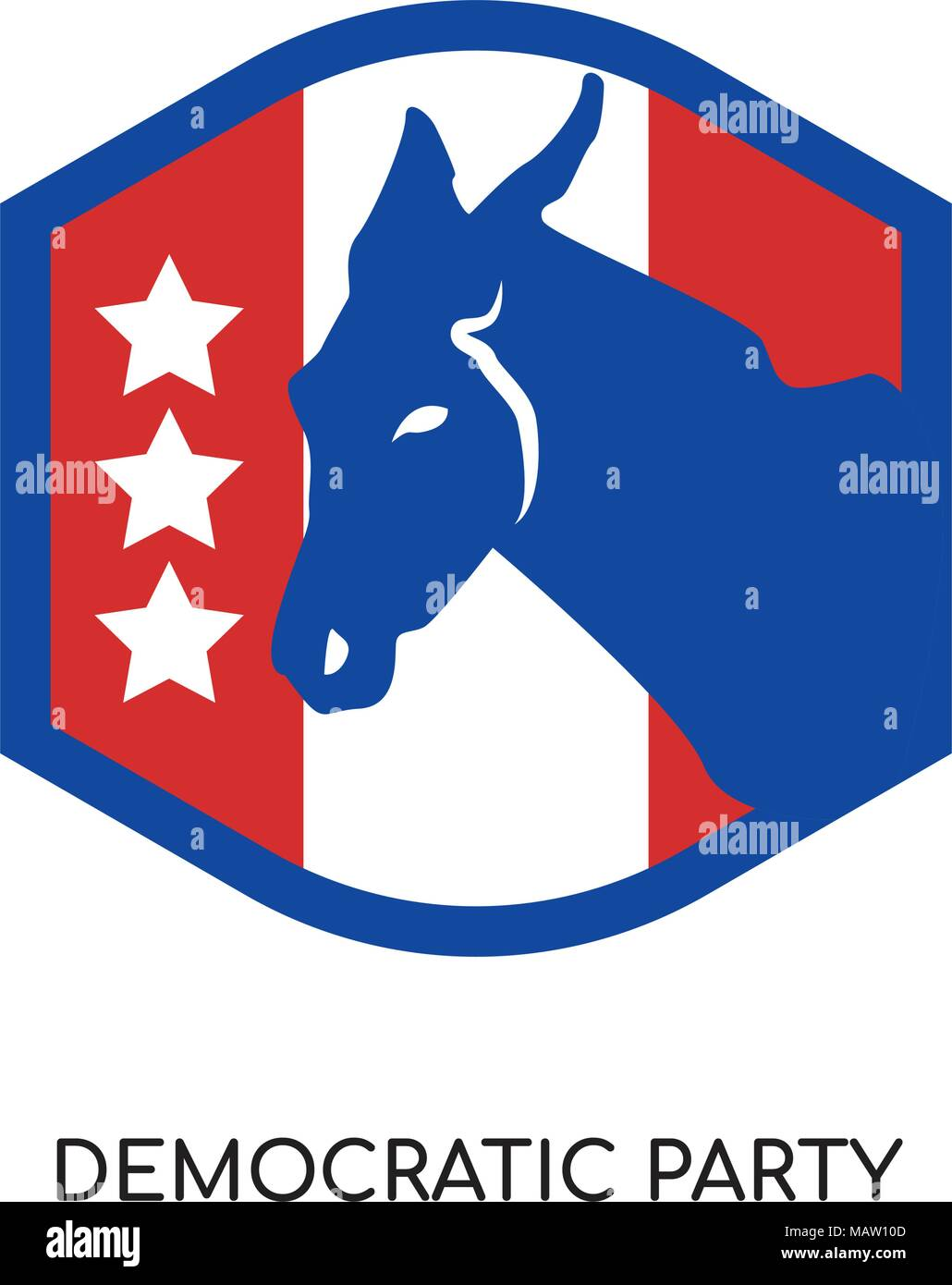democratic party logo isolated on white background for your web, mobile and app design - Stock Image