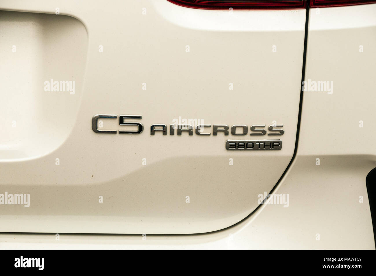 Detail shot of the badge of the Citroen C5 Aircross as on a test drive in Shanghai, China. - Stock Image