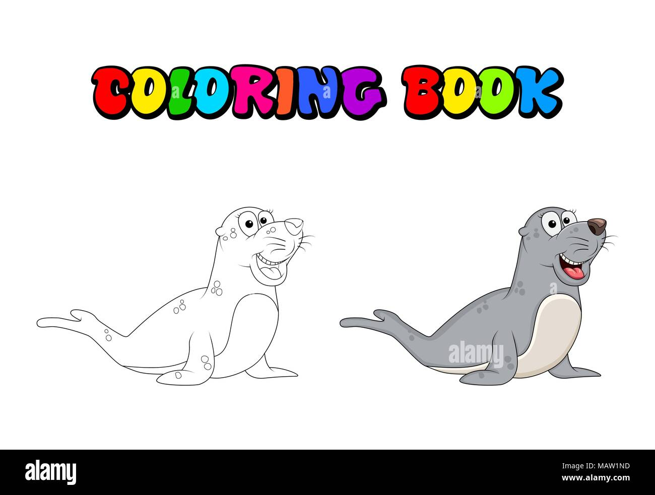 cartoon seal coloring book isolated on white background MAW1ND
