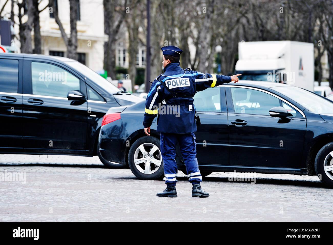 Police traffic régulation - Paris - France - Stock Image