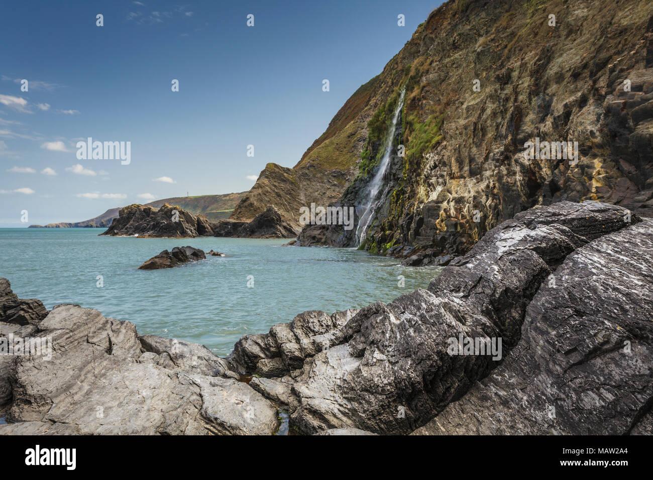 Tresaith on the Ceredigion Coast, West Wales - Stock Image