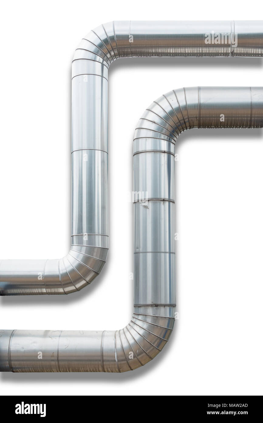 Steam distribution pipeline and insulation cover on isolation white background. - Stock Image