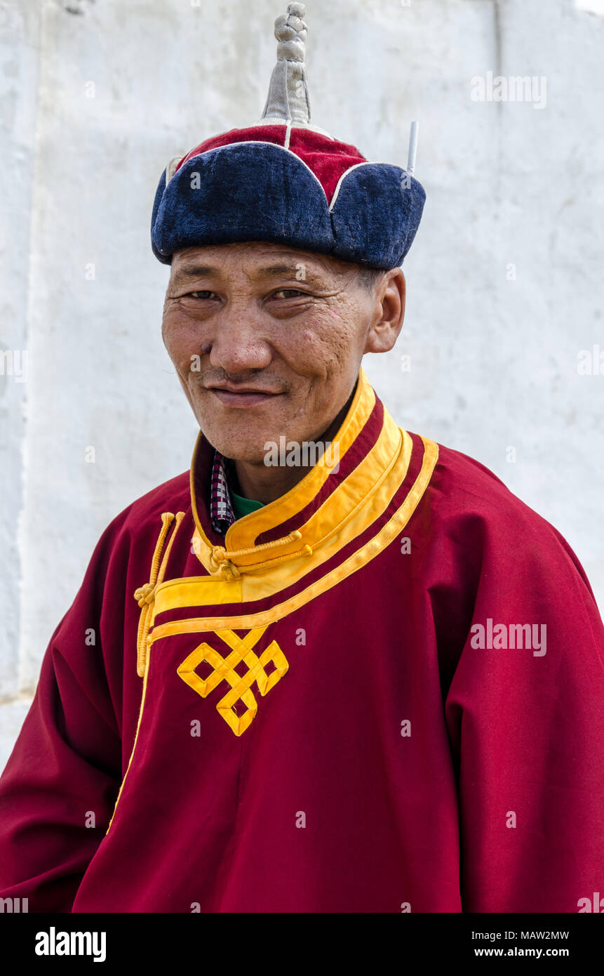 Portrait of a Referee at the Naadam Festival in Murun, Mongolia - Stock Image