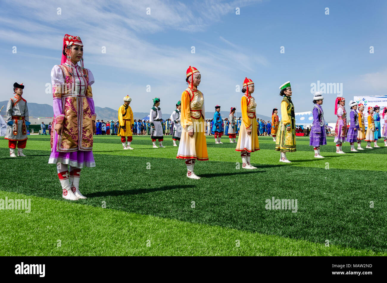Traditional Costumes at the Naadam Festival Opening Ceremony, Murun, Mongolia - Stock Image