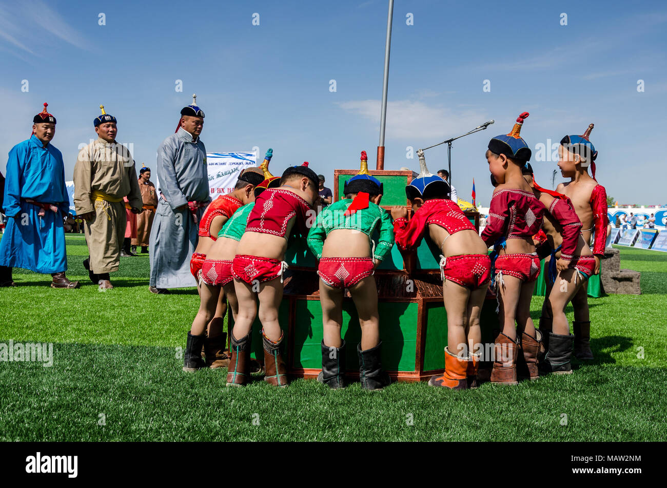 Young Wrestlers at the Opening Ceremony of the Naadam Festival in Murun, Mongolia - Stock Image