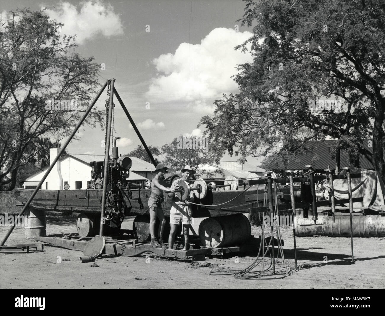 Proposed under water weed cutter under construction, Rhodesian Selection Trust, Kafue Pilot Polder, Zambia, South Rhodesia 1957 Stock Photo