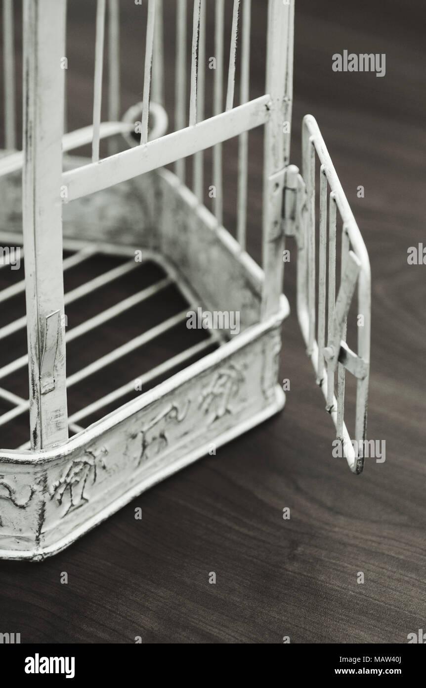 empty birdcage with open door - Stock Image