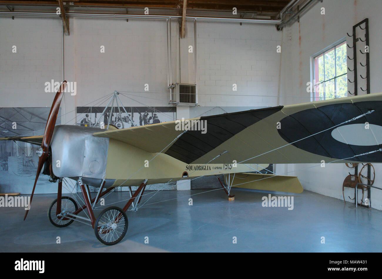 Caproni Ca 18 (1913) - Volandia aviation museum, near Malpensa, Lombardy, Italy - Stock Image