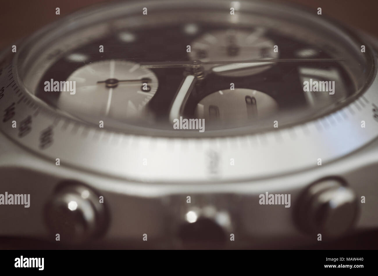 detail of a chronometer wrist watch - Stock Image