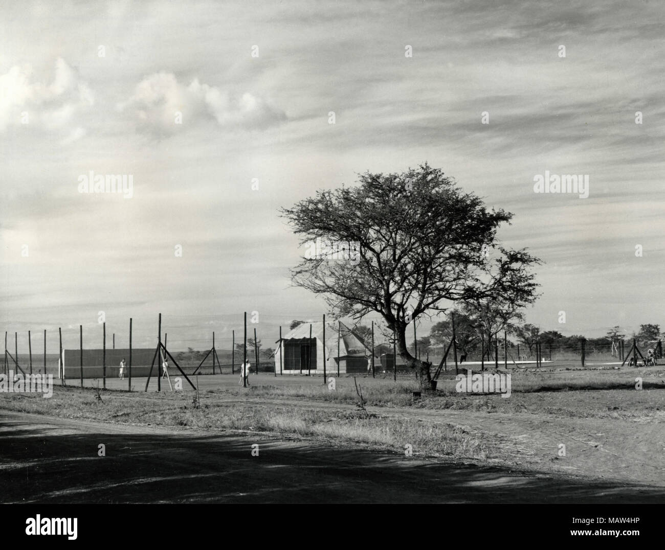 Tennis courts, Rhodesian Selection Trust, Kafue Pilot Polder, Zambia, South Rhodesia 1957 - Stock Image