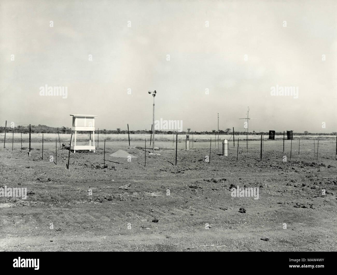 Meteorological station, Rhodesian Selection Trust, Kafue Pilot Polder, Zambia, South Rhodesia 1957 - Stock Image