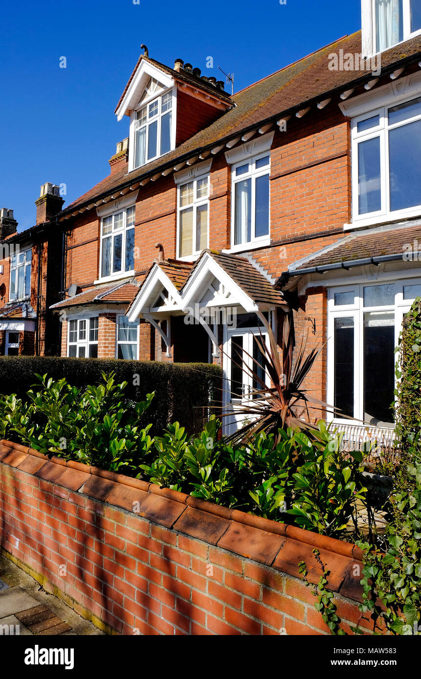 row of pretty terraced houses in sheringham, north norfolk, england Stock Photo