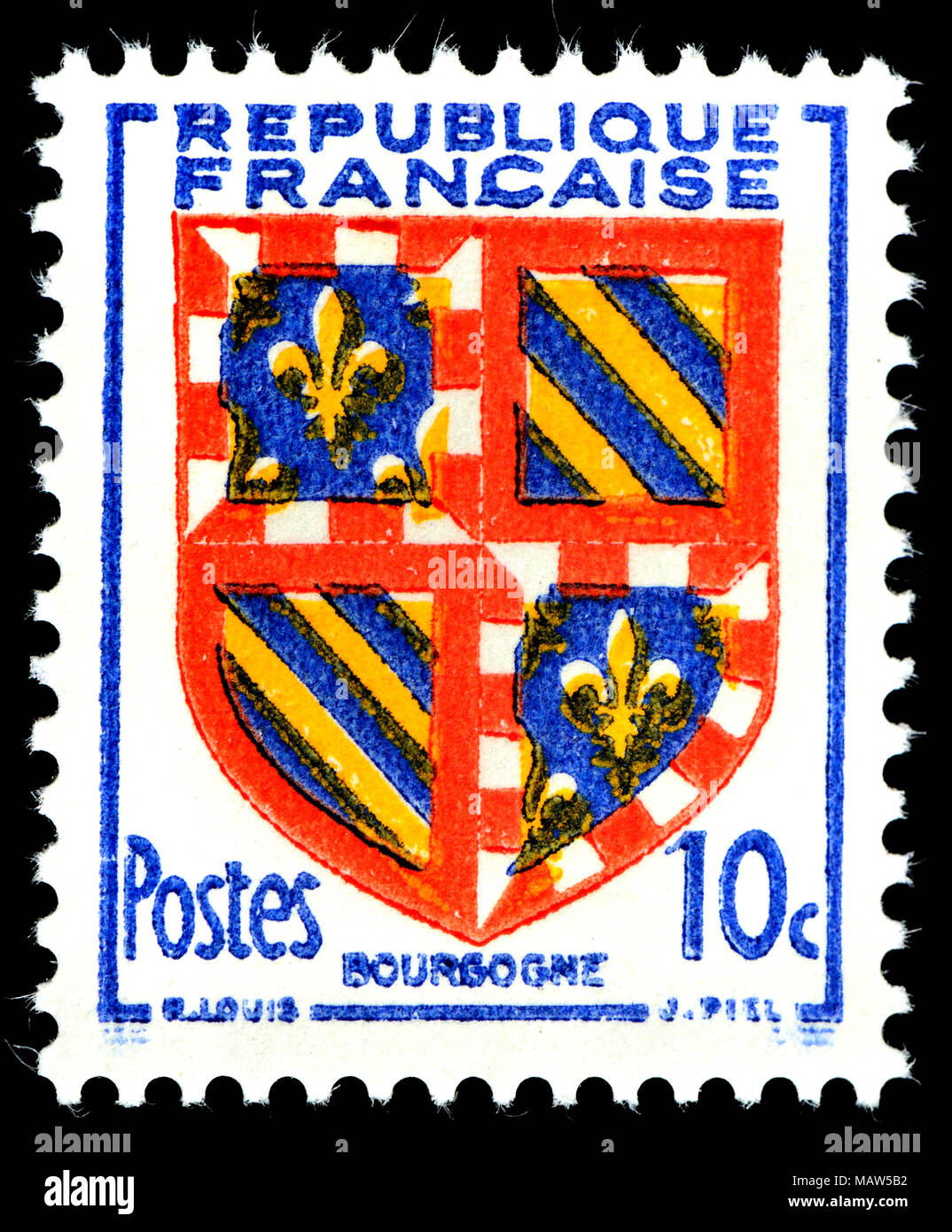French postage stamp (1949)  :  Coat of Arms: Bourgogne - Stock Image