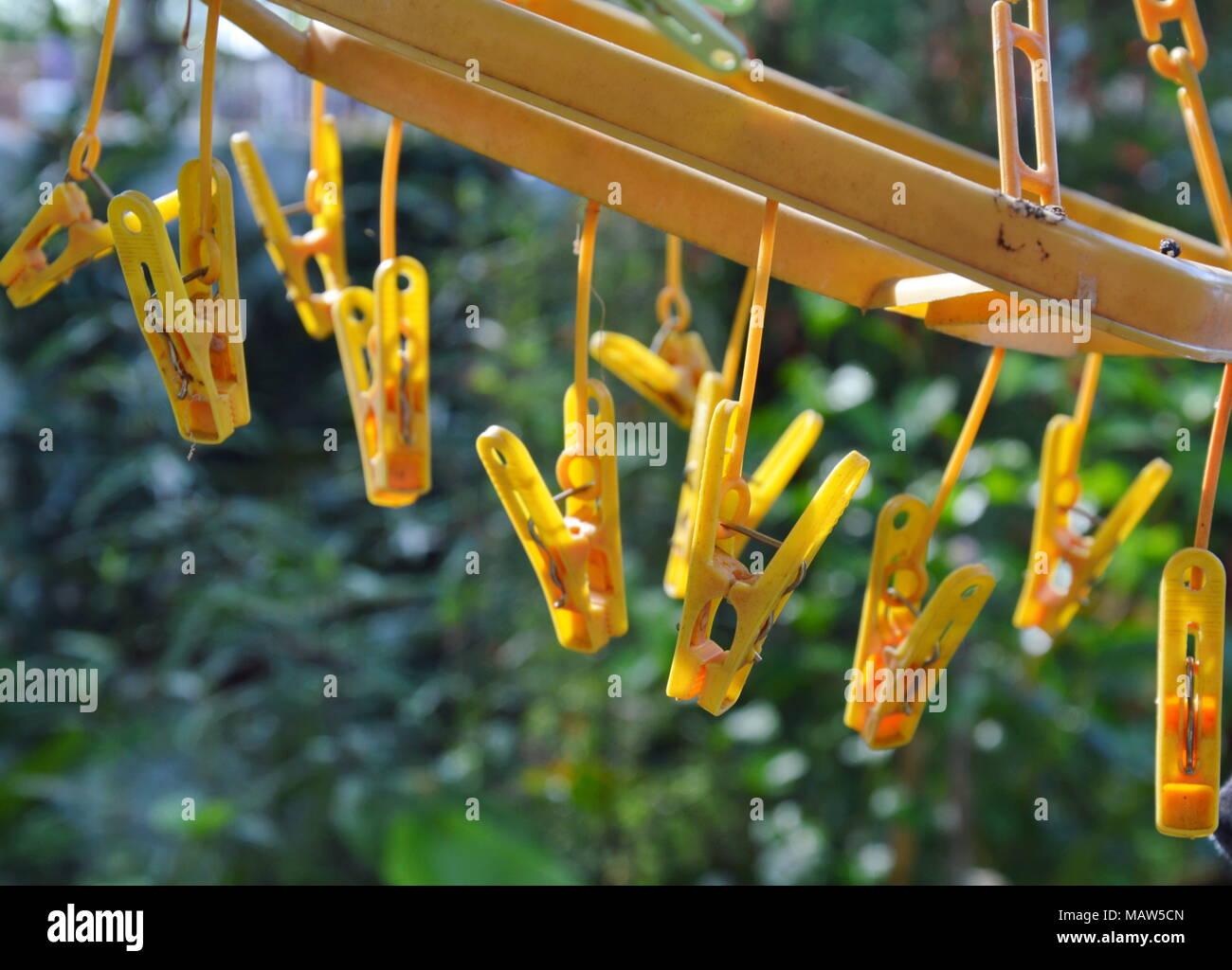 yellow cloth pin hanging in garden Stock Photo