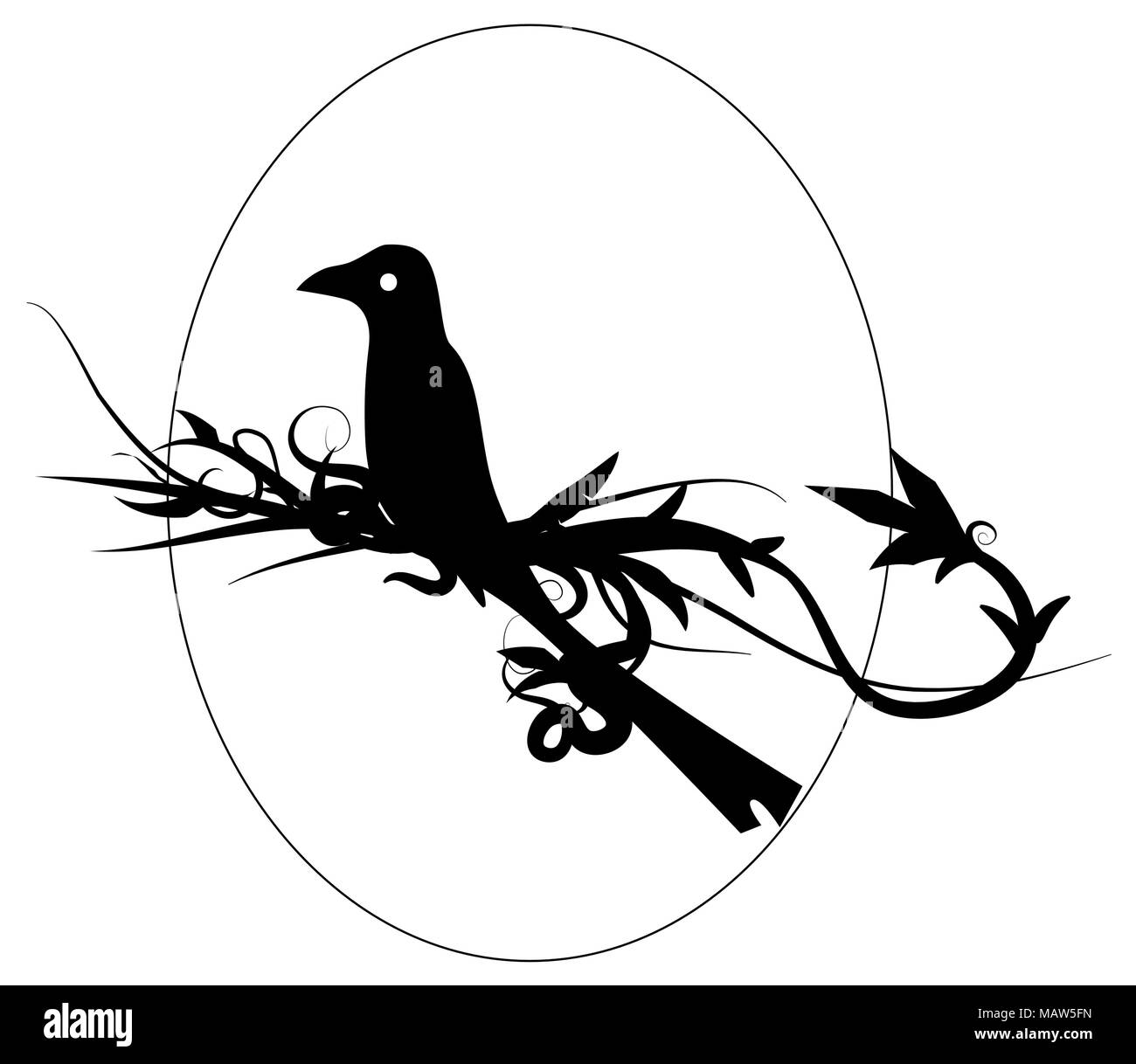 Bird emblem vector design element, black and white, horizontal - Stock Image