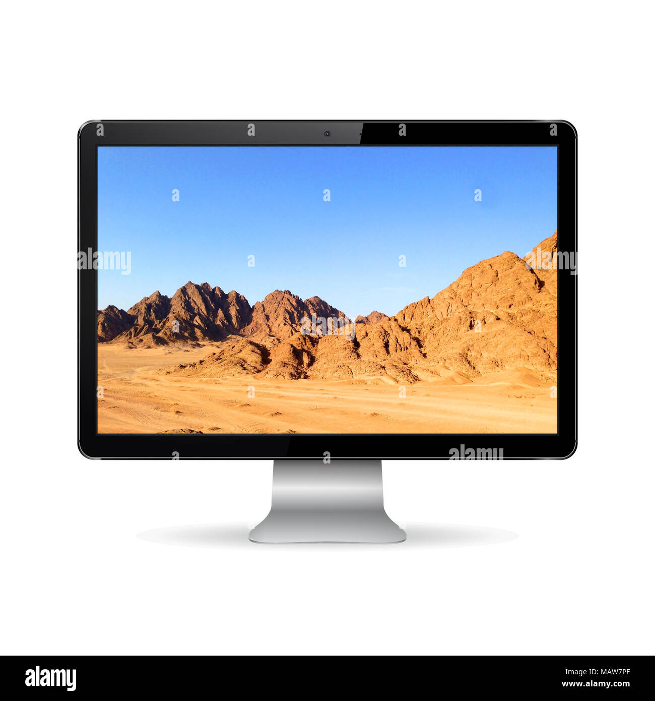 Computer display with mountain landscape - Stock Image