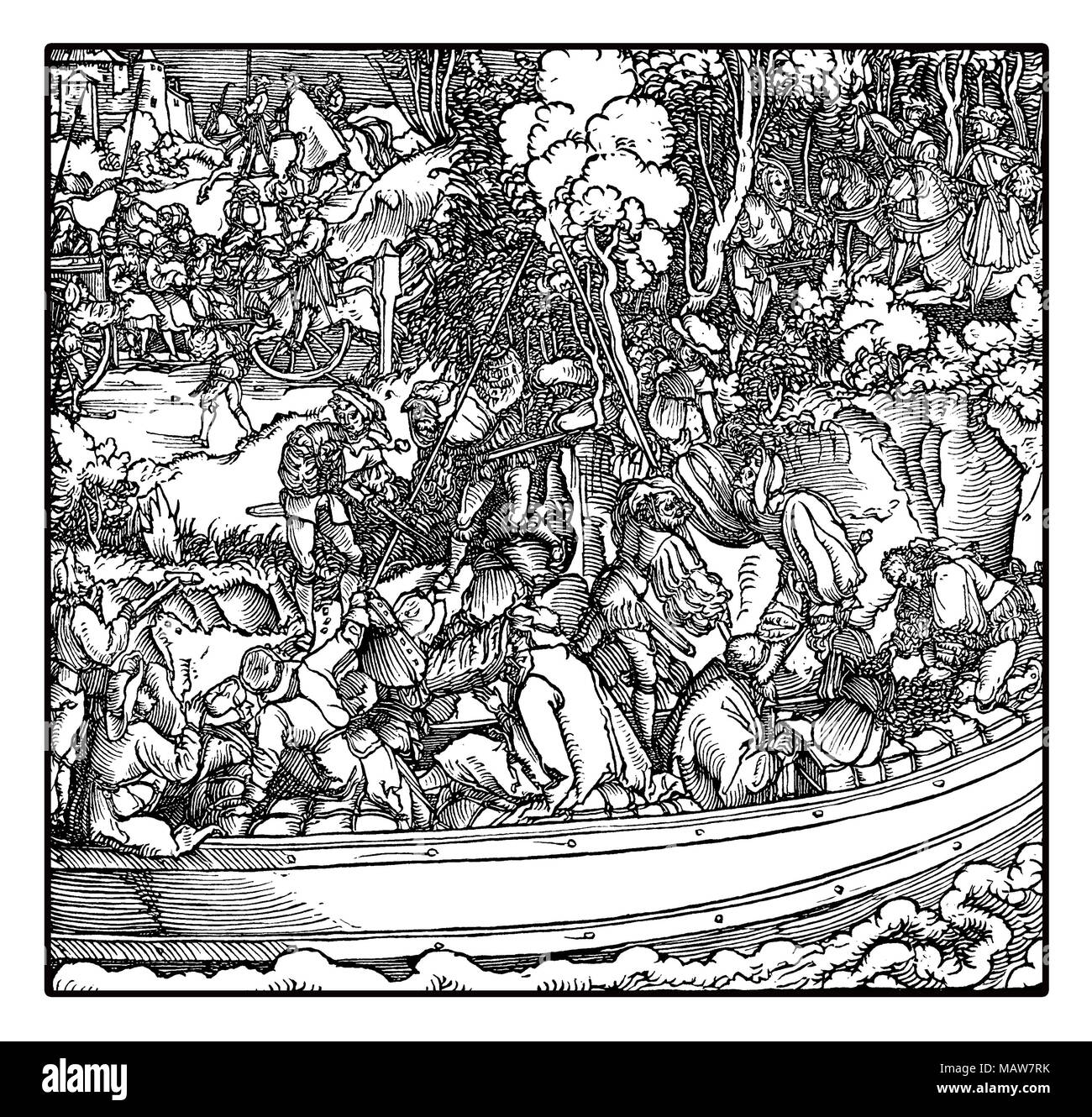 Robber barons tolling station: feudal landowners robbing travelers and merchants on river traffic, by Hans Schauffelein, year 1532 engraving Stock Photo