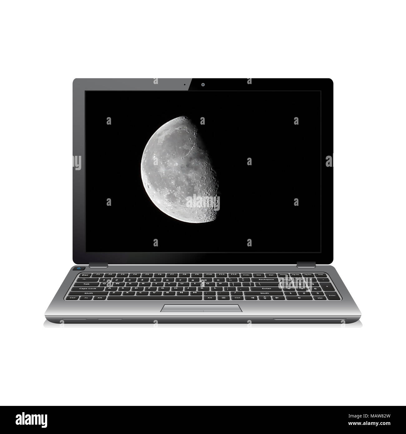 Laptop computer with waxing gibbous moon on screen - Stock Image