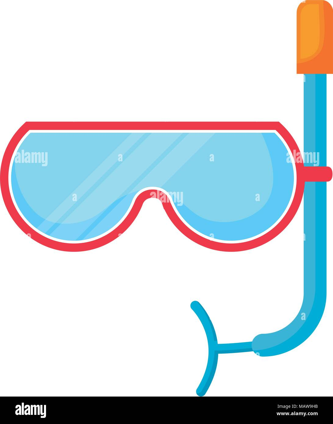 snorkel mask icon over white background, colorful design.  vector illustration - Stock Vector