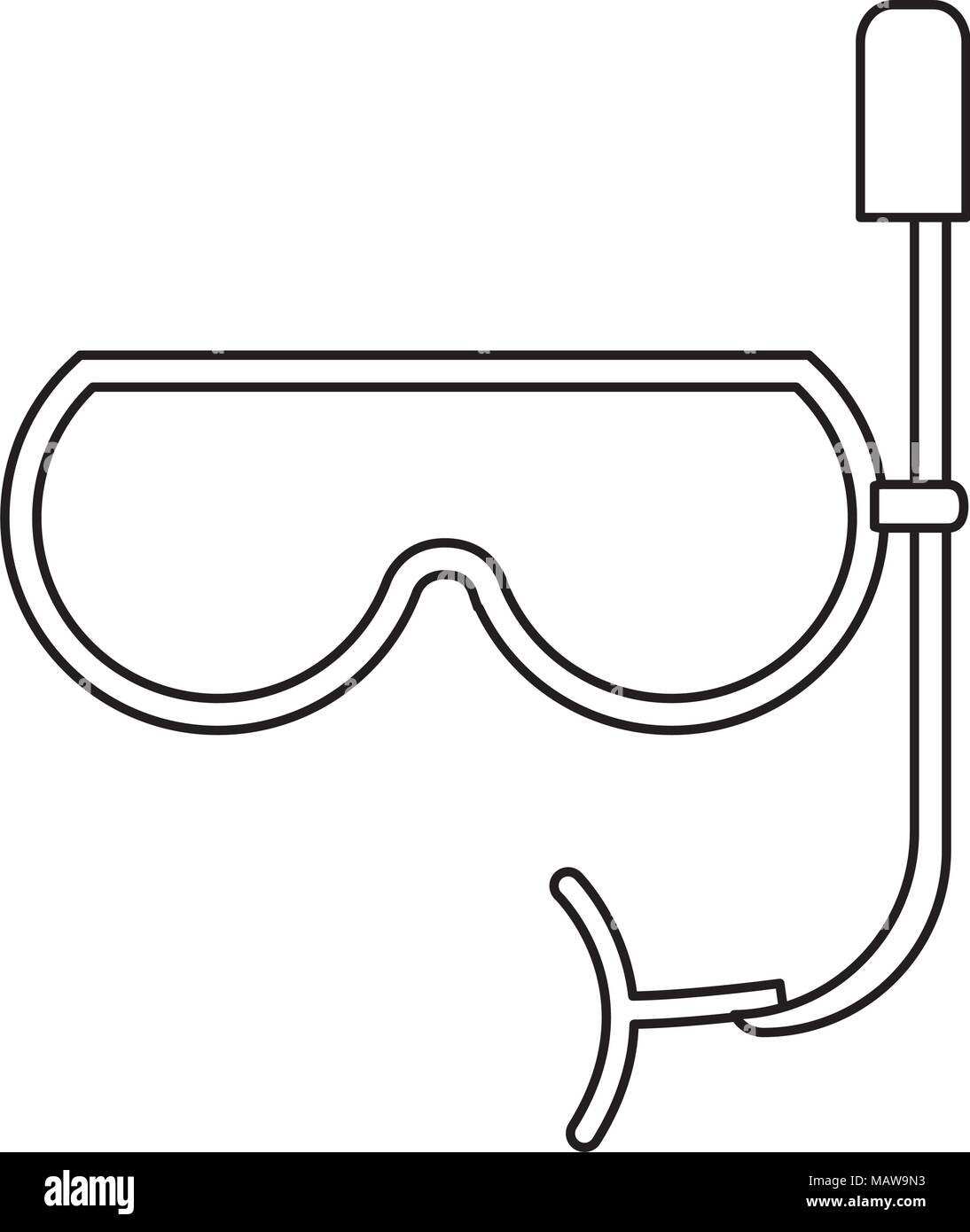 snorkel mask icon over white background, vector illustration - Stock Vector