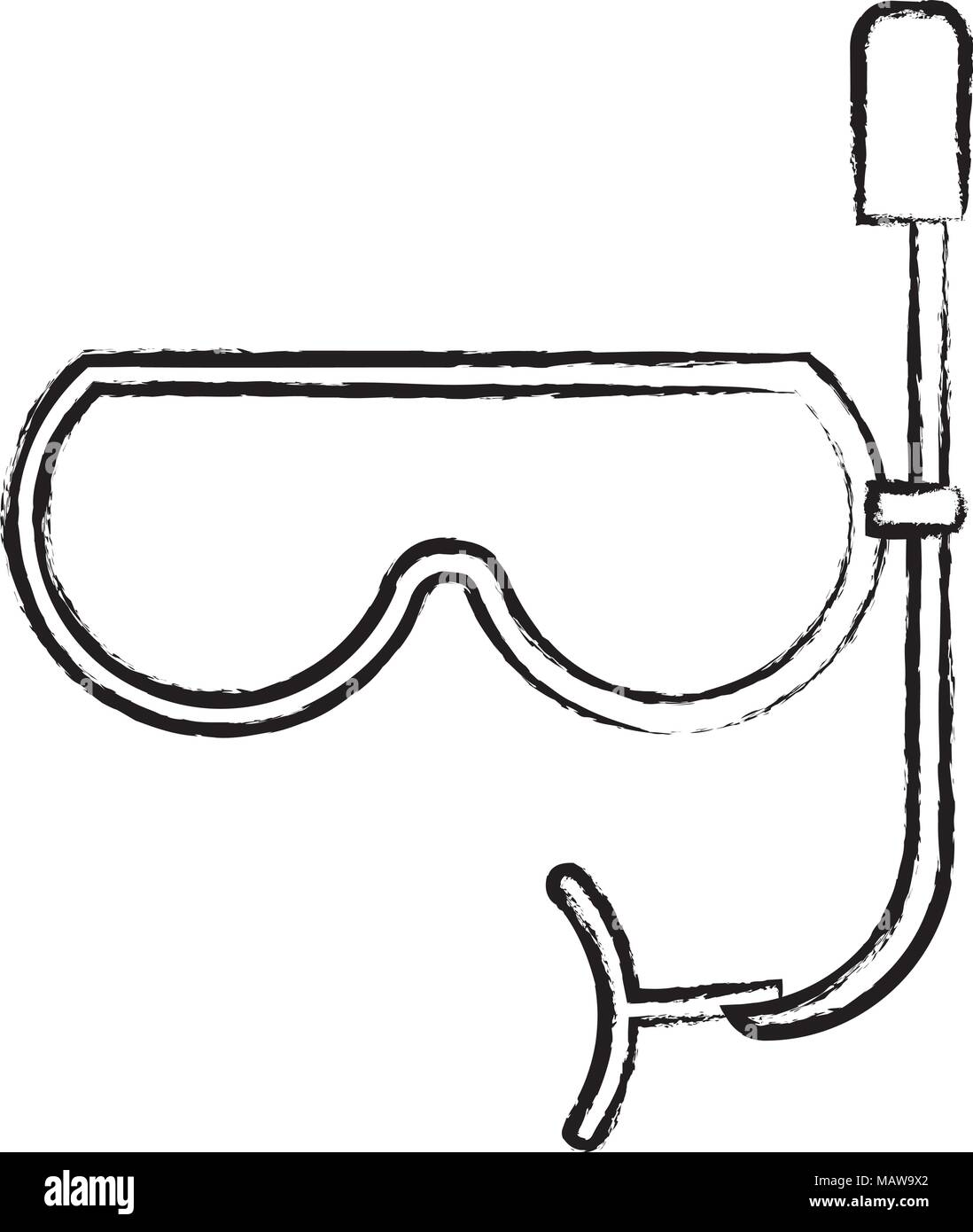 sketch of snorkel mask icon over white background, vector illustration - Stock Vector