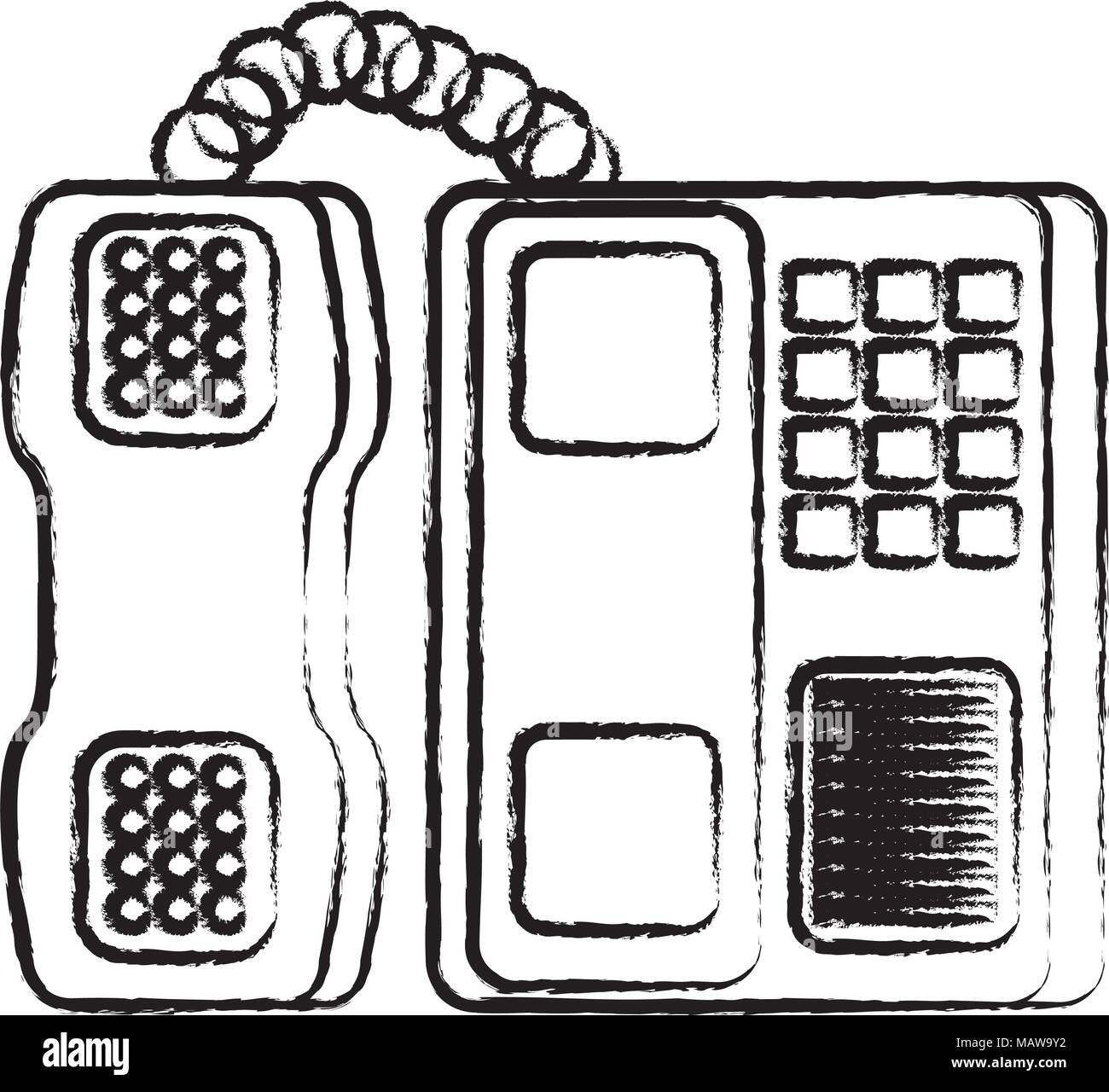 sketch of office phone icon over white background, vector