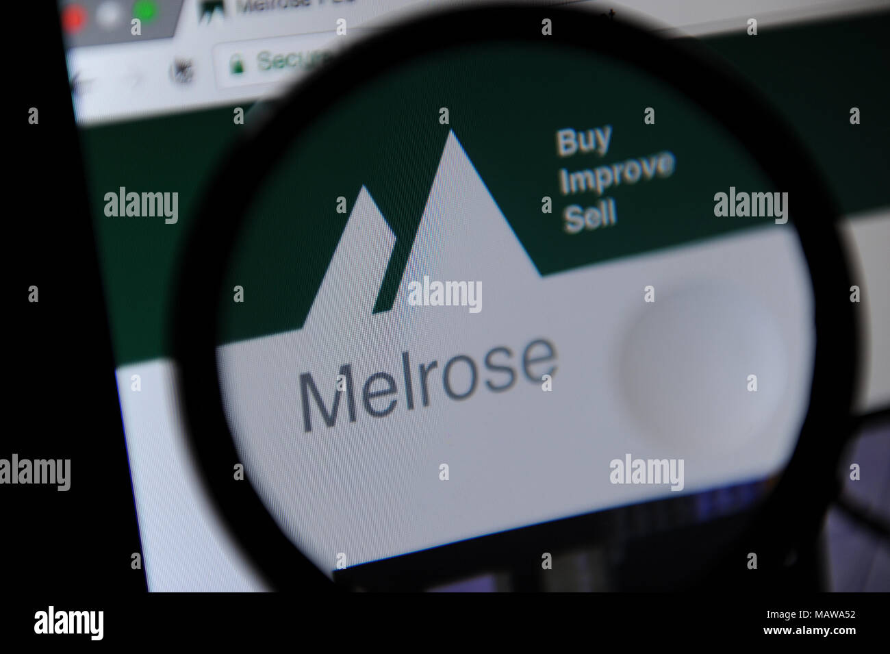 Website of Melrose, a British based investment company - Stock Image