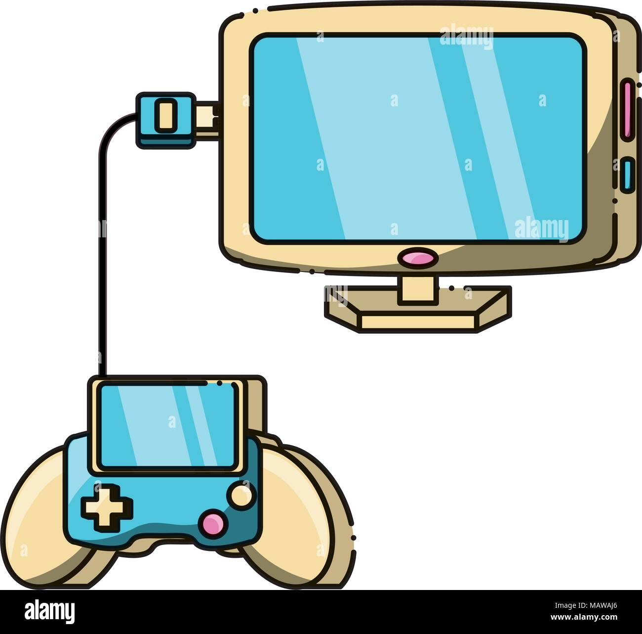 portable videogame connected to computer over white background, vector illustration - Stock Image