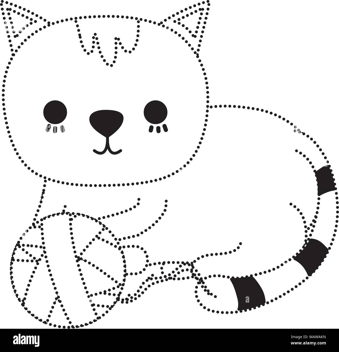 dotted shape cat pet cute animal with wool ball vector illustration - Stock Vector