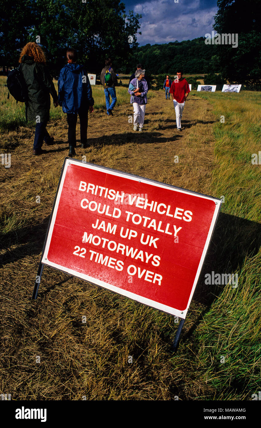 Environmental Information Sign, Art Bypass, Newbury Bypass Protest, Newbury, Isle of Wight, England, UK, GB. - Stock Image