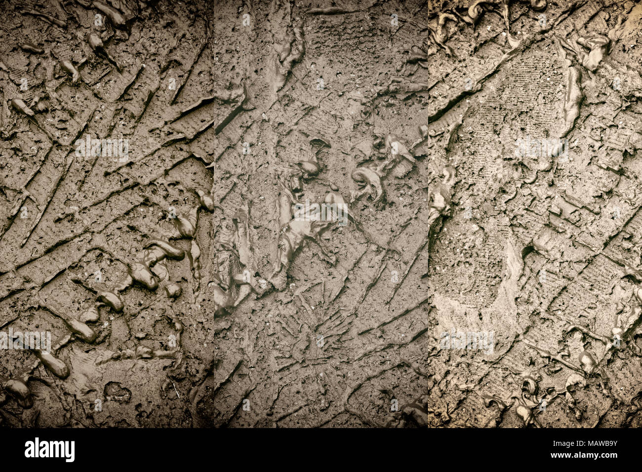 Mud texture or wet soil as natural organic clay and geological sediment mixture as in roughing it in a dirty muddy country road bog after the rain or  - Stock Image