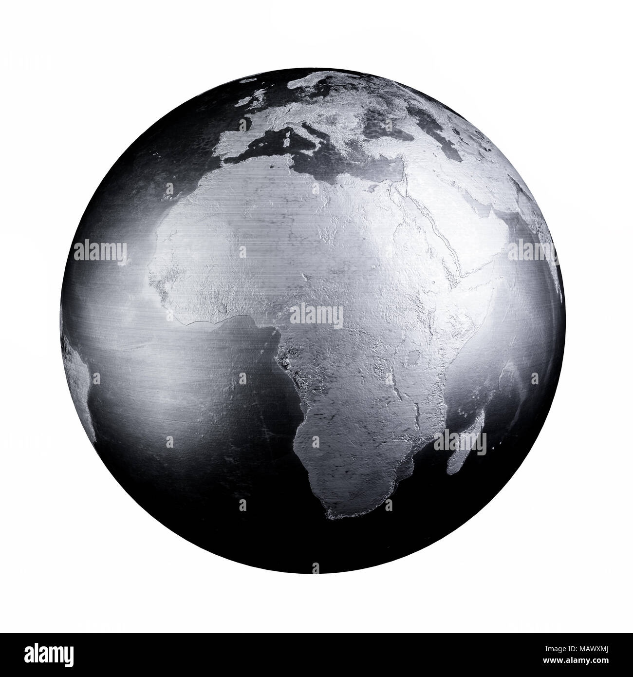 Black Iron Metal World Map Earth 3d Rendering Illustration Isolated