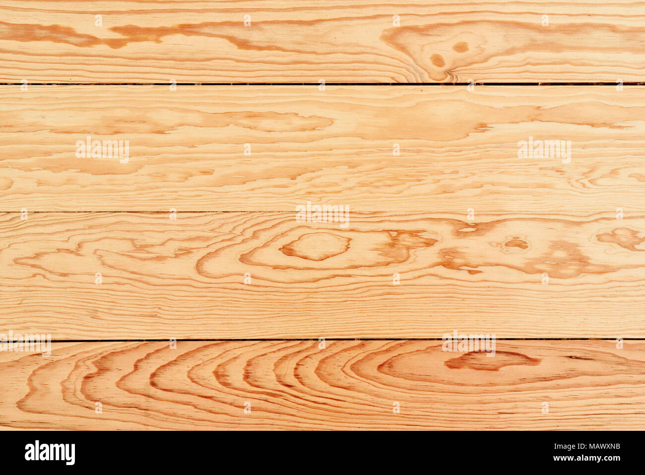 Wooden floor or wood planks background. Light wood background with copy space, top view or high angle shot. - Stock Image