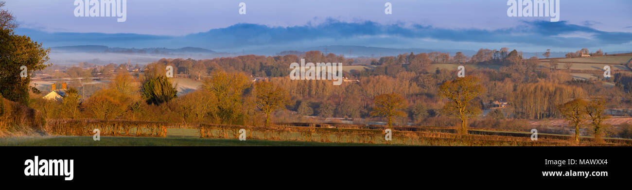 East Devon Area of Outstanding Natural Beauty near Gittisham at first light. - Stock Image