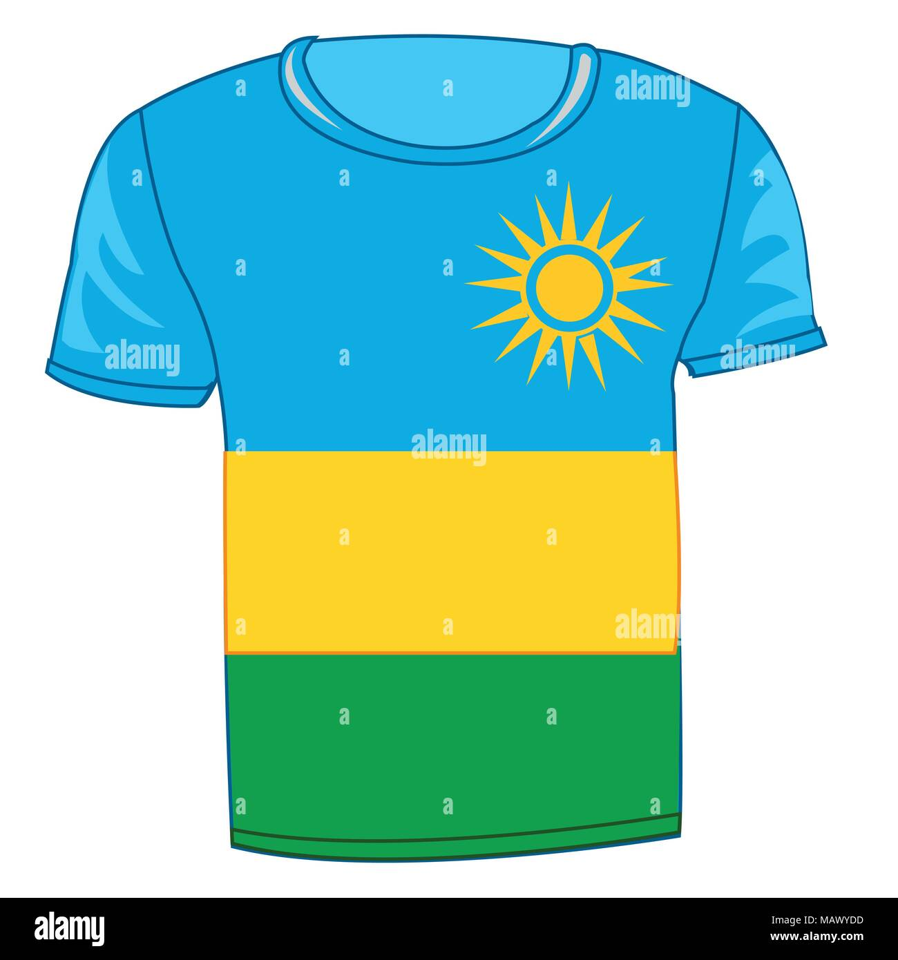 Year cloth t-shirt with flag of the country Rwanda - Stock Vector
