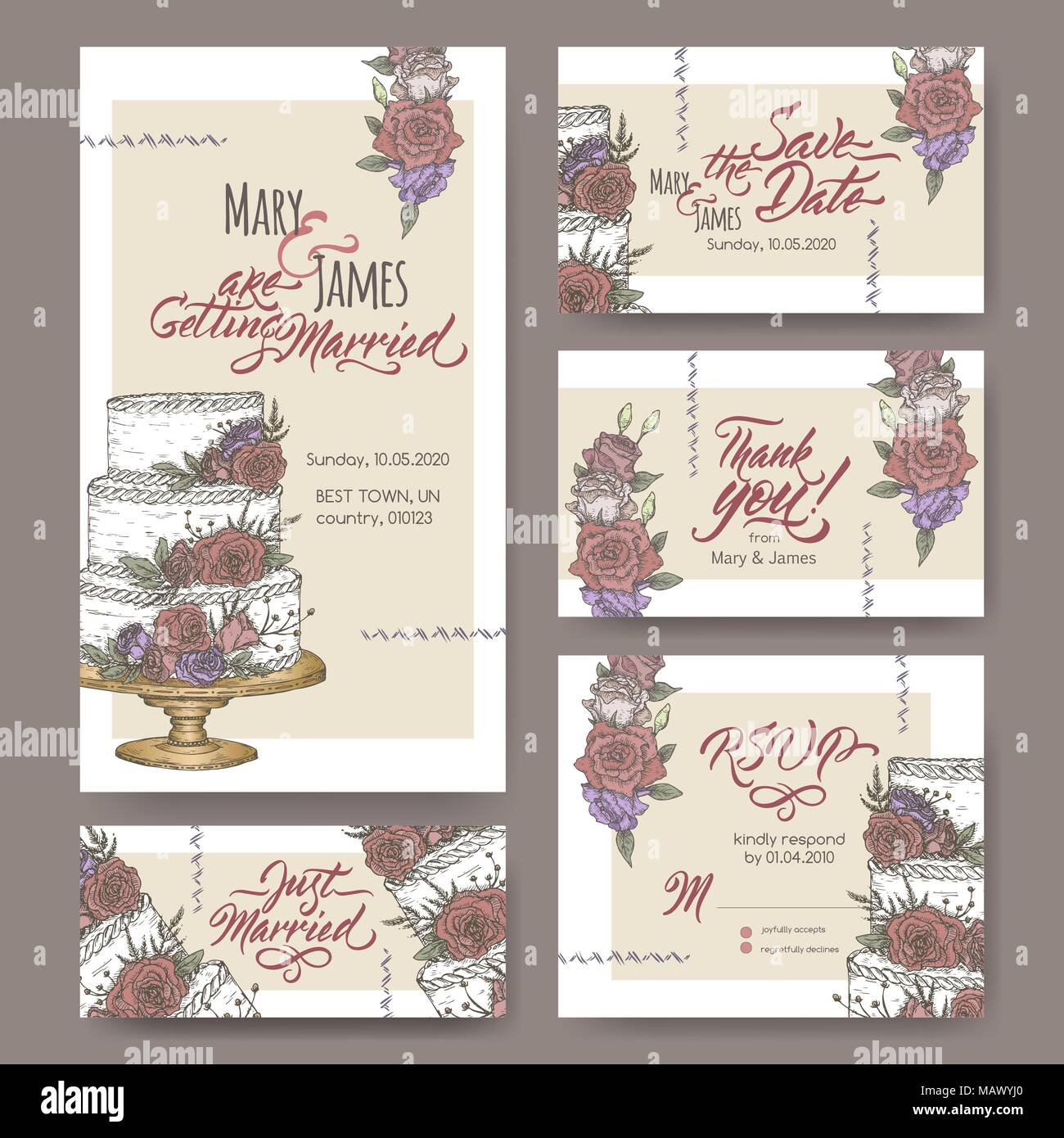 Set of five original attractive wedding cards based on cake color ...