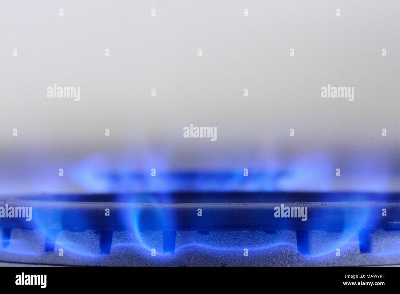 Gas cooker burning gas with a blue flame with a white back ground - Stock Image