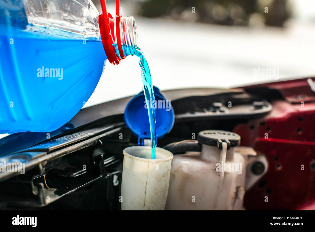 Antifreeze Stock Photos Images Alamy Frozen Engine Coolant Detail On Pouring Liquid Screen Wash Into Dirty Car From Blue And Red Anti Freeze