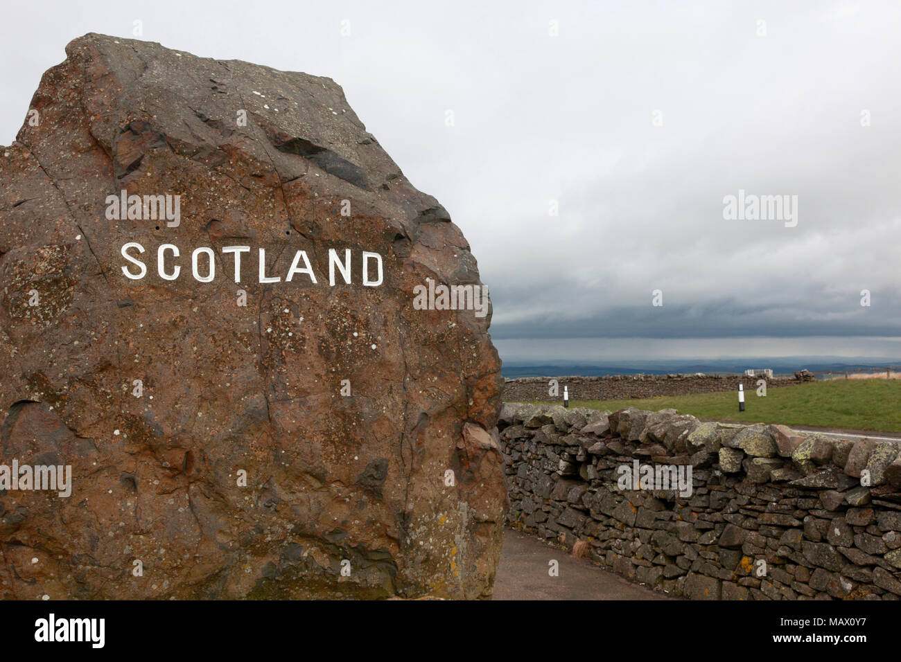The border between Scotland and England at Carter Bar on the A68 between Northumberland and Roxburghshire - Stock Image