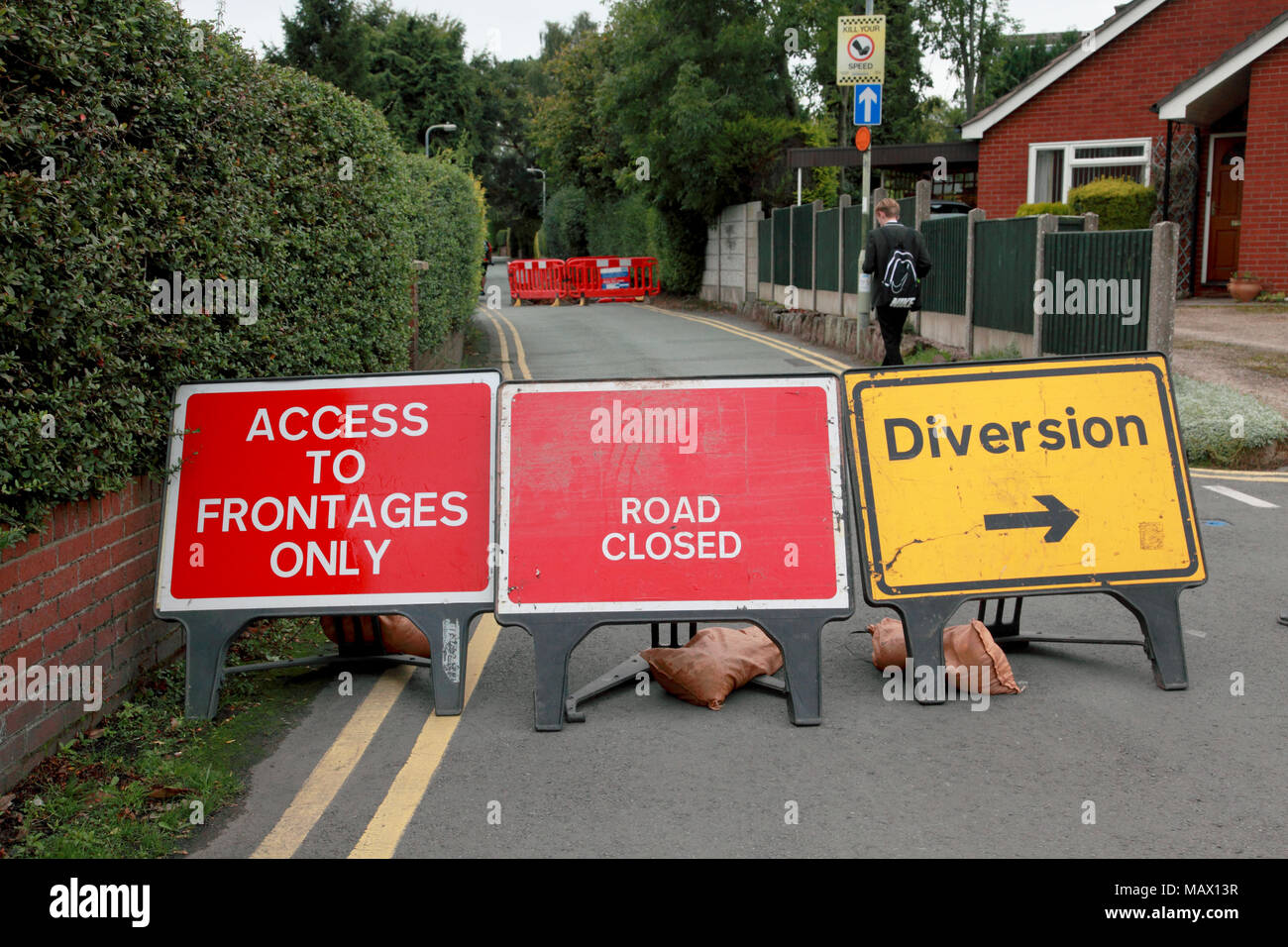 Road closure and diversion signs because of work being done by Severn Trent - Stock Image