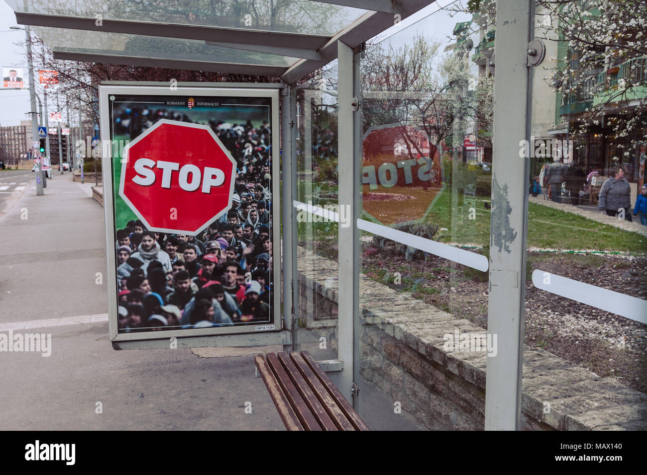Budapest, HUNGARY - April 4, 2018: Hungarian government billboard anti-immigration campaign, say STOP the refugees immigration. - Stock Image