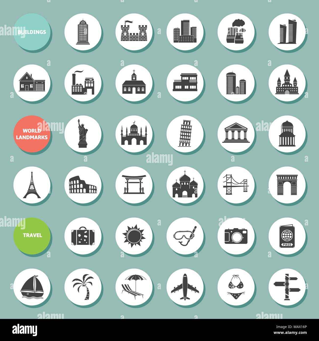 Set of vector web icons for buildings, landmarks and travel. Vector EPS10. Stock Vector